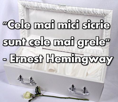 """""""Sicriele cele mai mici sunt cele mai grele"""" - Ernest Hemingway"""